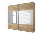 Schwebetürenschrank Quadra I - Eiche Sonoma Dekor / Spiegelglas - 136 cm (2-türig) - 210 cm, Rauch