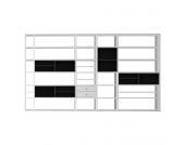 XXL Regalwand Emporior II - Ohne Beleuchtung - Weiß / Schwarz, loftscape