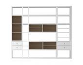 XXL Regalwand Emporior IV.A - Ohne Beleuchtung - Weiß / Eiche Sonoma Dekor, loftscape