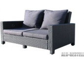 Lounge Sofa Lanzarote 3 sitzig Schwarz verstellbar inkl. Kissen