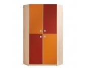 Eckschrank Sunny - Ahorn/Orange-Rot, Wimex