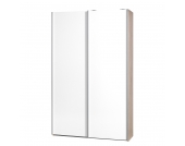 Schwebetürenschrank Soft Smart - 120 cm - Eiche Dekor - Weiß - Ohne Spiegeltür/-en, Cs Schmal