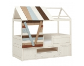 Kojenbett Hütte Lifetime Original - Kiefer massiv - Whitewash - Mit Deluxe Lattenrost, Lifetime Kidsrooms
