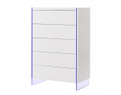 EEK A+, Kommode Brunetti (inkl. Beleuchtung) - Hochglanz Weiß, loftscape
