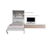 Schrankbett-Kombination Majano - 160 x 205 cm - Bonellfederkernmatratze - Weiß / Eiche Sonoma Dekor, Modoform