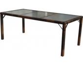 heute-wohnen Poly-Rattan Gartentisch Ariana, Tisch Esszimmertisch, 150x90cm Glas