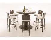 Polyrattan Gartenbar Set MARI XL, Bartisch mit eingelassenem Edelstahl-Kübel, 6 x Barhocker, 6 x Sitzkissen