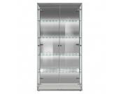 EEK A+, Vitrine Vision - Groß mit LED-Beleuchtung - Spiegel/Silber, Arte M