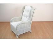 moebel direkt online Sessel _ Rattansessel handgeflochten, Nostalgiesessel _ weiß gewischt _ mit Kissenauflagen