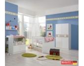 WIMEX Babyzimmereinrichtung KIMBA - Wickelkommode, Bett und kl.Kleiderschrank inkl. Bettschubkasten, Unterschrank und Hängeregal