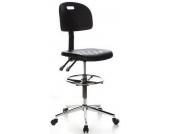 Hocker / Drehhocker / Arbeitsstuhl TOP WORK 23 Hartschaum schwarz Chrom hjh OFFICE