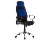Bürostuhl / Chefsessel CITY 80 Kunstleder / Stoff schwarz / blau Chrom hjh OFFICE