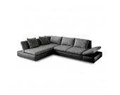 Ecksofa Split (mit Schlaffunktion) - Kunstleder/Strukturstoff - Schwarz/Grau - Ottomane beidseitig montierbar, Home Design