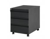 Office Rollcontainer - 3 Schubladen, abschließbar - Metall, schwarz, Magazin Möbel